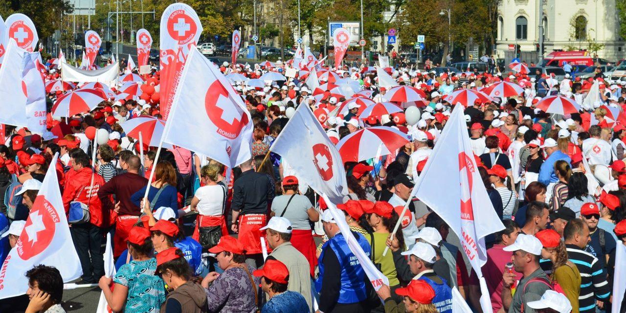 Angajații din Sănătate protestează. La miting sunt așteptați 10.000 de oameni