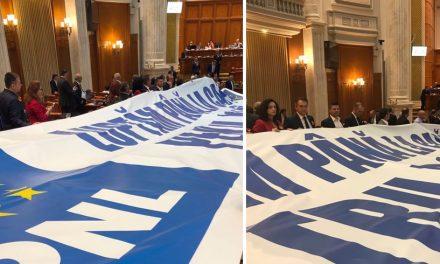 """În timpul discursului Vioricăi Dăncilă, parlamentarii PNL au desfășurat un banner cu mesajul """"Luptăm până la capăt pentru România"""""""