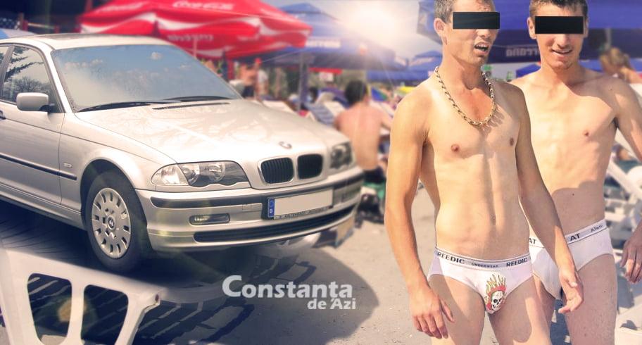 """Ca să evite amenda, un cocalar de București și-a pus BMW-ul pe șezlonguri. """"Nu e pă nisip, boss!"""""""