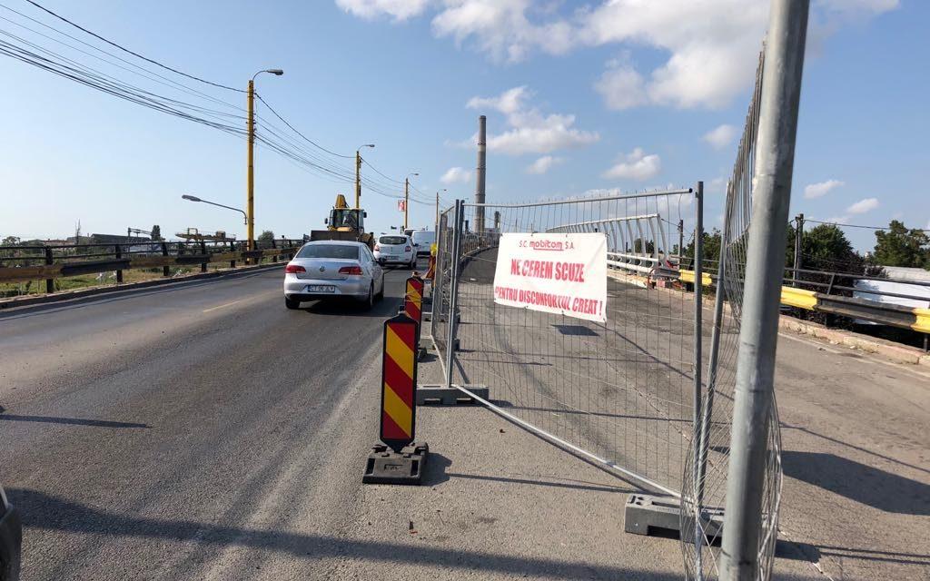 Reîncepe calvarul pe Podul de la Butelii. Primăria închide cealaltă jumătate de pod pentru reabilitare