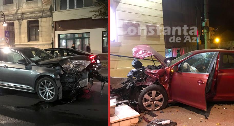 FOTO-VIDEO. A intrat cu maşina în treptele de la Fantasio, izbit de un şofer care nu a respectat regulile