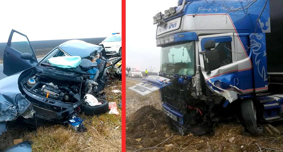 Accident grav în Lumina! Un om a murit în urma ciocnirii dintre un TIR și două autoturisme