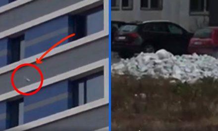 VIDEO. Nesimțire și inconștiență. Un constănțean aruncă bolovani pe geam, de la etajul 8!