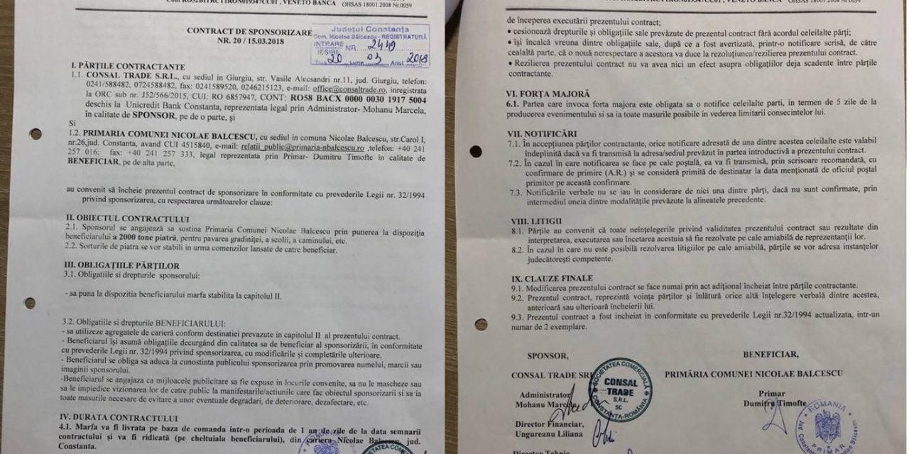 SC Consal Trade SRL sponsorizează Primăria Nicolae Bălcescu cu 2000 tone de piatră