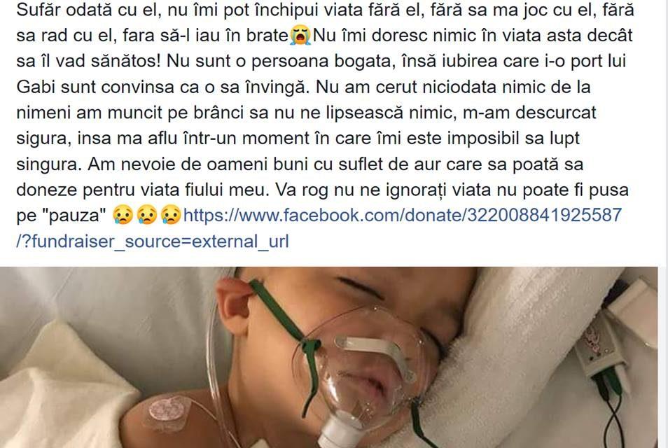 Înșelăciune pe Facebook de 27.000 euro, în numele unui copil bolnav de leucemie