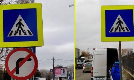 Primăria a montat indicatoare cu bandă reflectorizantă la trecerile pentru pietoni