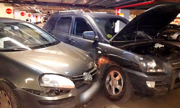 """Accident în parcarea subterană de la VIVO. Un șofer nu a știut ce înseamnă """"Cedează trecerea"""""""