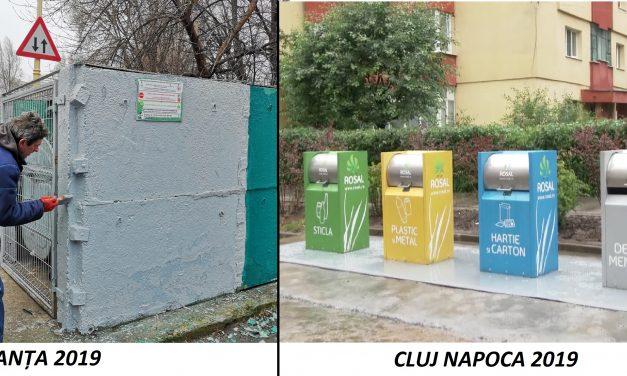 IMAGINILE RUȘINII / Constanța face colectare selectivă a gunoaielor cu… bidineaua. La Cluj, ghenele sunt automatizate, îngropate în pământ