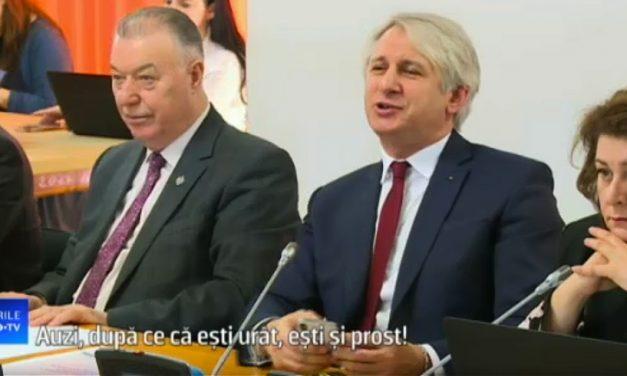 """VIDEO. Teodorovici jignește un senator: """"După ce că ești urât, mai ești și prost. Chiparosule!"""""""