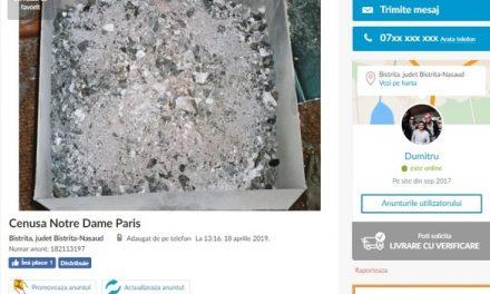 Anunț pe OLX: Dumitru vinde cenușă de la Notre Dame de Paris cu 400 lei. Nu face schimburi