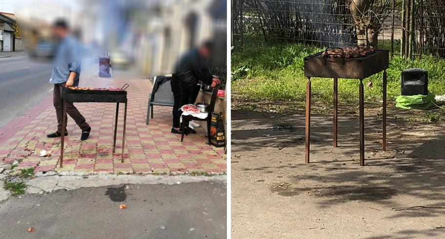 """Grătare la trotuar în Constanța. Polițiștii locali i-au """"cinstit"""" cu amenzi piperate"""