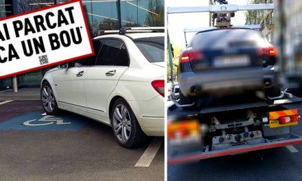 Nesimțirea a fost taxată. Mașini parcate pe locuri pentru persoane cu handicap, ridicate de Poliția Locală