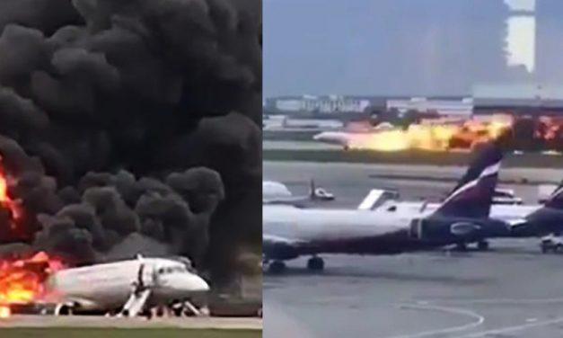 VIDEO. Tragedia aviatică din Rusia: Avionul Suhoi a aterizat de urgență cu rezervoarele pline