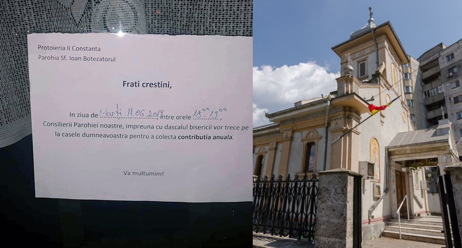 """O biserică din Constanța anunță enoriașii că trimite dascălul să colecteze """"contribuția anuală"""""""