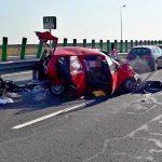 FOTO. Accident grav cu șase mașini pe A2, la Valul lui Traian. Patru persoane rănite
