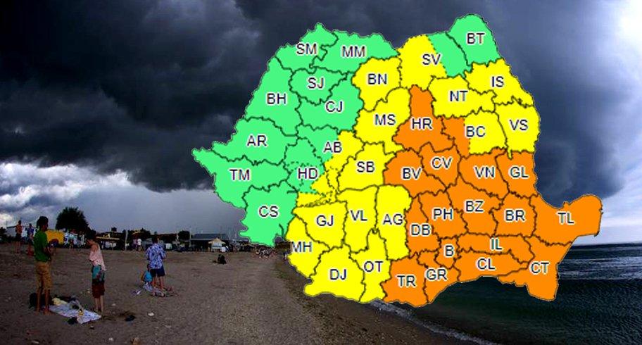 Avertizare ANM de Cod Portocaliu în Constanța și Tulcea. Se anunță vijelii, ploi și grindină