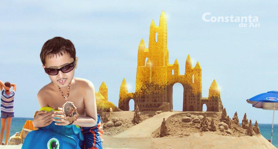 Castel de nisip poleit cu aur, construit pe plajă de cel mai prețios copil din lume