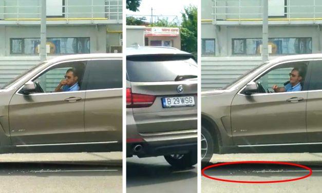 VIDEO. Meltean filmat în timp ce sparge semințe în BMW și scuipă cojile pe asfalt