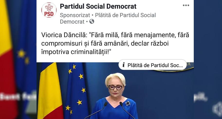 Reclamă pe Facebook plătită de PSD cu declarația făcută de Dăncilă în cazul de la Caracal