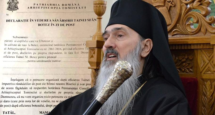"""Declarație pe propria răspundere impusă părinților de Arhiepiscopia Tomisului. Petrecerea de botez în post """"ar produce sminteală"""""""