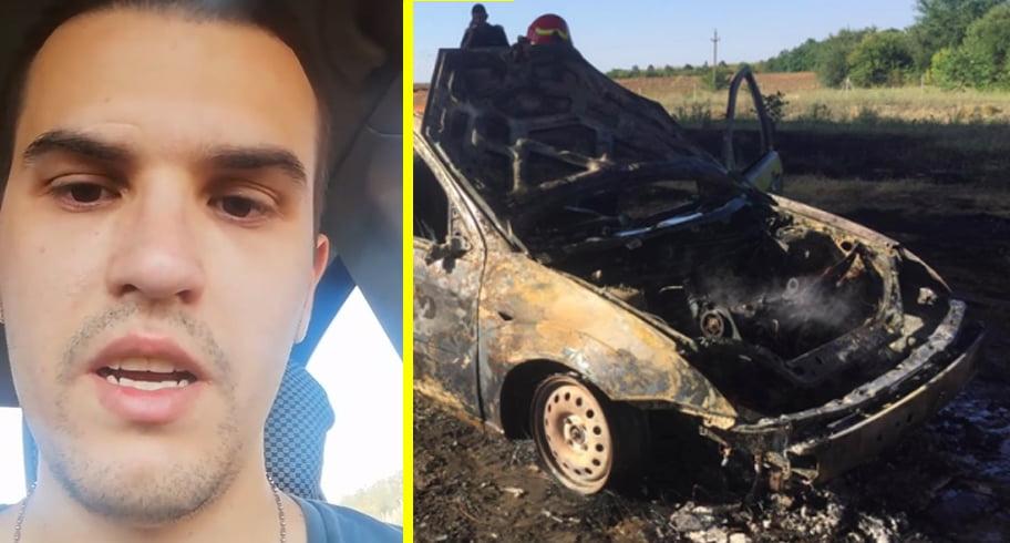 VIDEO. Un tânăr din Medgidia și-a dat foc în mașină. A postat un mesaj de adio în care dă vina pe tatăl său