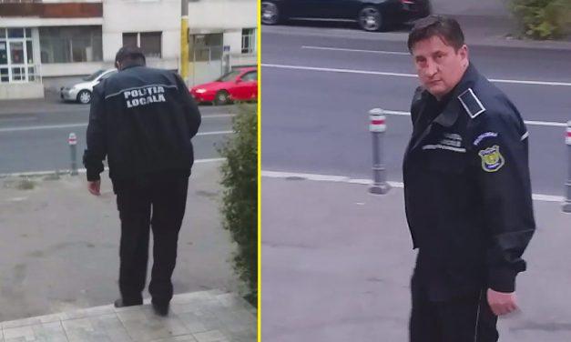 VIDEO. Polițist local în uniformă, rupt de beat pe o stradă din Constanța. Abia se ținea pe picioare