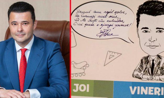 Un primar PSD le-a distribuit elevilor orare cu caricatura lui și o poezie motivațională
