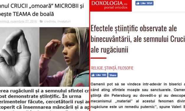 """Semnul Crucii """"omoară microbii"""" și """"purifică mâncarea"""". Site-uri BOR care citează cercetători ruși"""