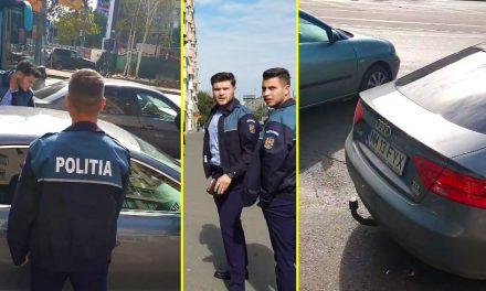 VIDEO. Polițiști în legea lor. Filmați după ce au parcat neregulamentar un bolid de zeci de mii de euro