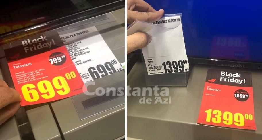 """VIDEO/FOTO. """"Reduceri"""" de Black Friday cu aceleaşi preţuri, la Auchan. Sub preţul nou este eticheta veche cu acelaşi preţ!"""