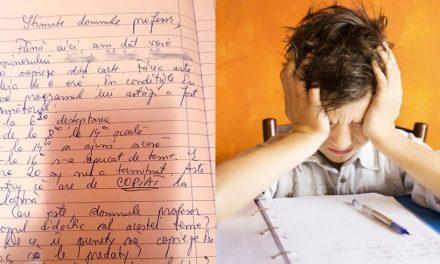 Mesaj scris în caietul de teme de mama unui elev pentru profesor: De ce îi puneți să copieze în loc să le predați?