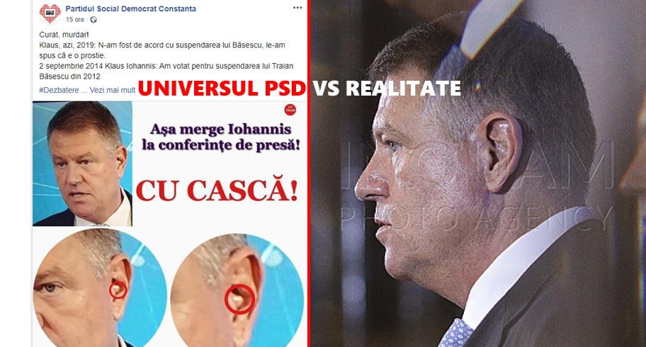 """Precum în cazul """"Halep huiduită"""", PSD Constanța a distribuit fake news-ul cu """"casca"""" lui Iohannis"""