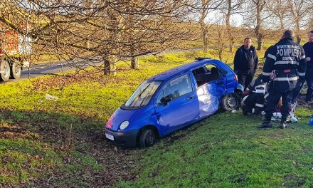 O femeie însărcinată s-a izbit cu mașina de un copac. Nu avea permis de conducere
