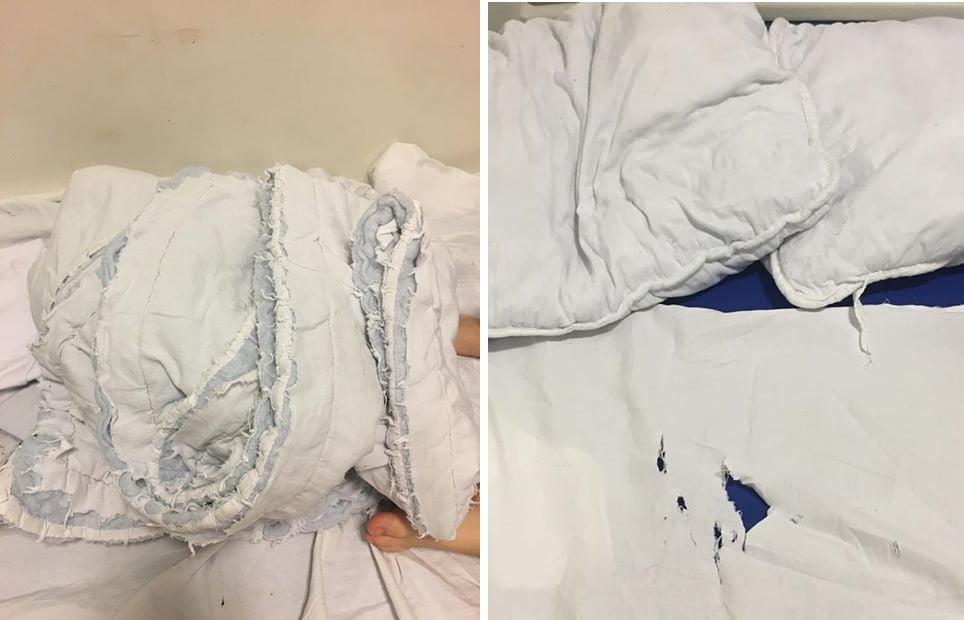 FOTO / Pediatria Spitalului Județean, mizerie de nedescris. Copii bolnavi lăsați fără lenjerie de pat și pături fiindcă e criză