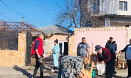 Imagini incredibile, în Constanța! Au sacrificat porcul și l-au pârlit în plină stradă, pe bd-ul Aurel Vlaicu. Poliția a ratat pomana porcului