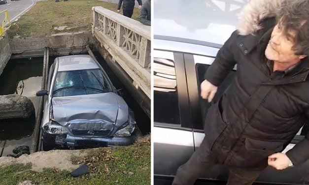 VIDEO. Un şofer beat turtă a plonjat cu maşina în canalul de la intrare în Mamaia