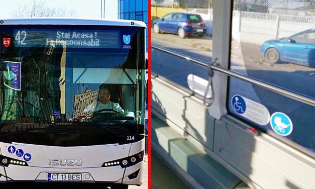 Dispenserele cu dezinfectant din autobuze sunt goale, însă CT BUS spune să le folosiţi cu încredere