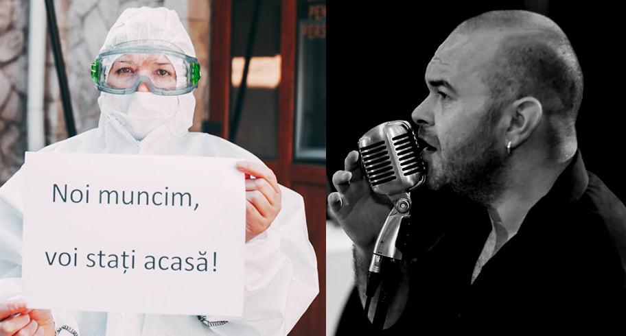 """VIDEO. Mesajele medicilor, cântate de un constănţean. """"De tine depindem noi / Avem familii / Şi vrem acasă, înapoi"""""""