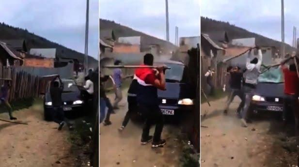 VIDEO / Romii și-au respectat tradițiile de Paște: scandal cu topoare, bâte și polițiști ascunși după gard