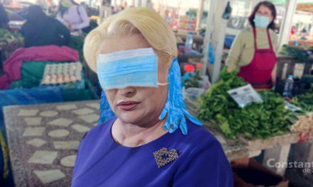 Viorica Dăncilă a fost văzută la piață, purtând mască de protecție și mănuși