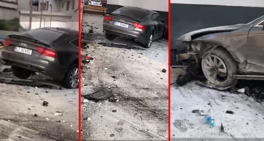 O femeie beată la volan a intrat cu mașina într-un bloc din Mamaia Nord