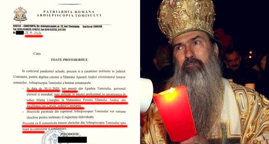 Sfindând autoritățile, Teodosie a dat ordin ca toți preoții din eparhie să meargă pe 30 noiembrie în pelerinaj la Peștera Sfântului Andrei