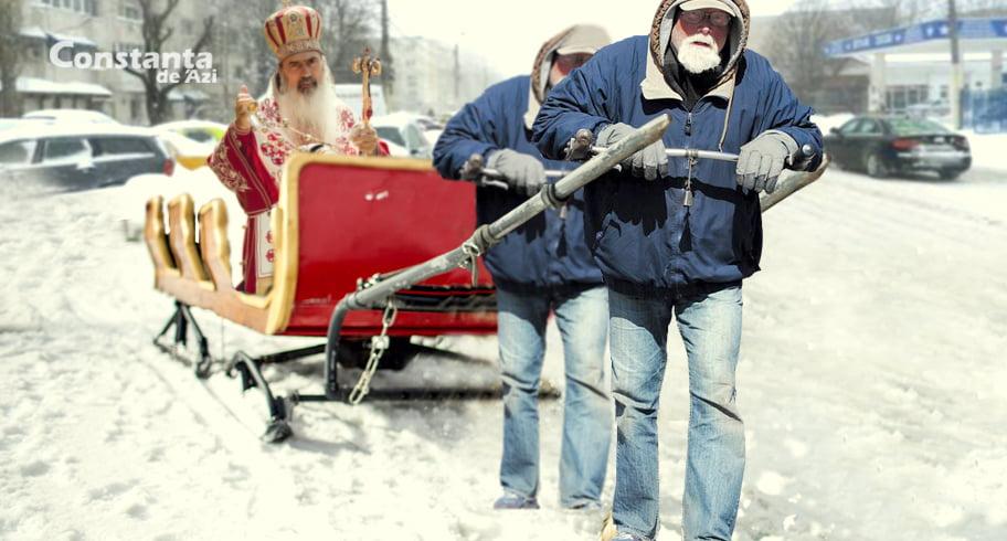Bucuriile iernii! Teodosie s-a plimbat prin Constanța într-o sanie trasă de săraci