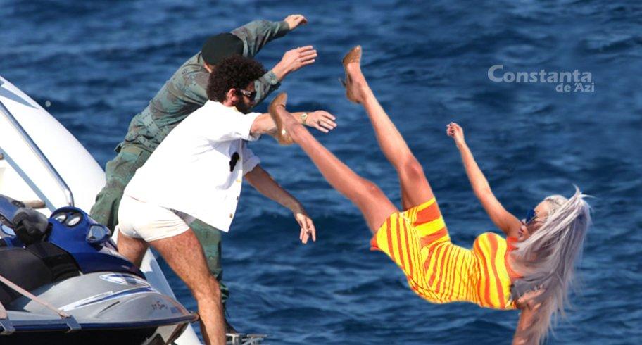 Prințesă siliconată de pe Alezzi Yacht, aruncată în mare pe post de colac pentru a salva un pasager căzut peste bord