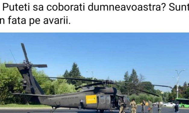 """Cele mai tari glume după aterizarea forțată a elicopterului Black Hawk. """"Să vadă și americanii cum e cu traficul din București, că de sus toți sunt șmecheri"""""""