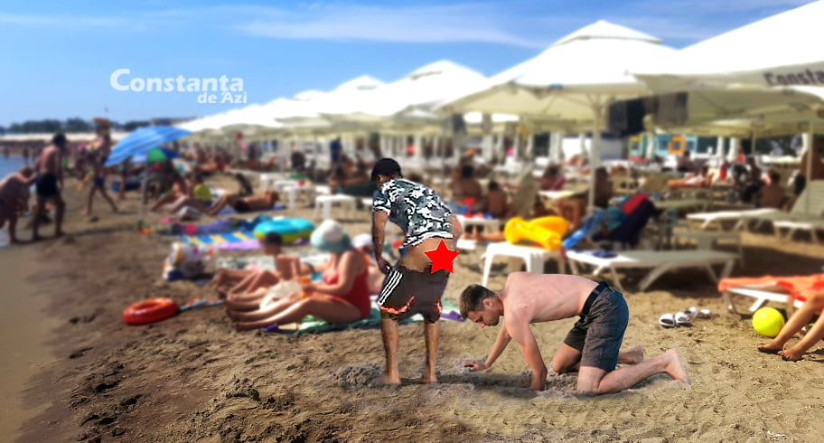 Ca să nu mai fie acuzați că infectează marea, unii turiști își îngroapă acum c@ktul în nisip