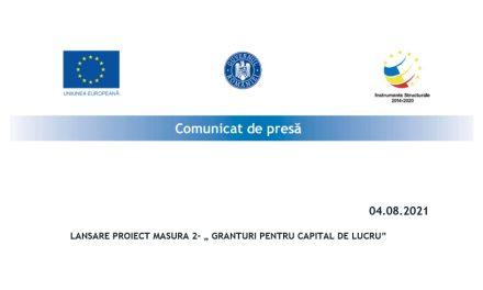 """LANSARE PROIECT MASURA 2- """" GRANTURI PENTRU CAPITAL DE LUCRU"""" SC British Star SRL"""