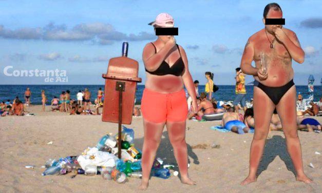 Performanță. Un cuplu de șlăpari sparge semințe fără oprire, de 24 de ore, pe o plajă din Mamaia