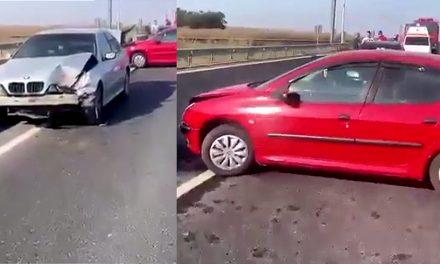 VIDEO. Accident cu cinci autoturisme la intrearea în Constanța. O persoană a fost rănită