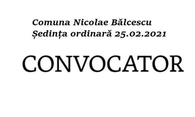 Ordinea de zi a ședinței Consiliului Local Nicolae Bălcescu din 25 februarie 2021